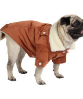 Dog Clothes (winter warm corduroy jacket for dogs (brown))