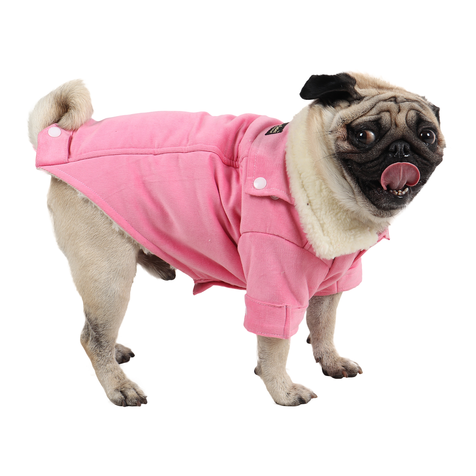 Douge Couture winter warm corduroy jackt for all dogs for cold weather (light pink)