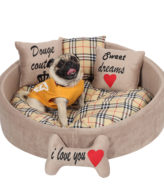Douge Couture brown printed dog bed Personalized dog bed Designer tatted dog bed Luxury puppy bed Custom made dog bed Birthday dog gift