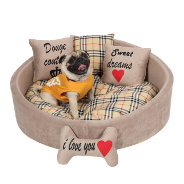 Douge Couture brown printed dog bed Personalized dog bed Designer tatted dog bed Luxury puppy bed Custom made dog bed Birthday dog gift 2