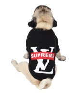 Dog Clothes black printed colour cotton summer T-Shirt lv supreme
