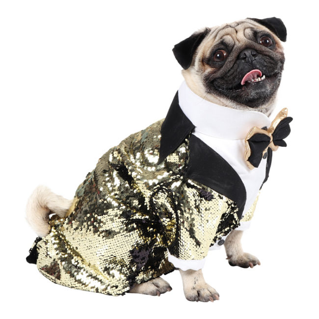 DOUGE COUTURE Elegant Glamour Party Tuxedo for Dogs (black and golden)