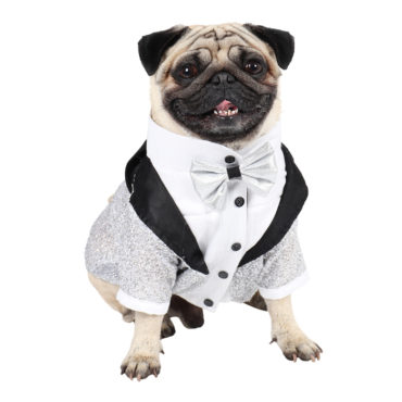 DOUGE COUTURE Elegant Glamour Party Tuxedo for Dogs (silver) 1
