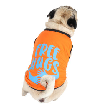 Dog Clothes (printed orange color cotton summer T-Shirt)