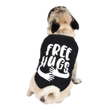 douge couture free hugs printed black colour cotton summer T-Shirt 1