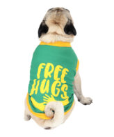 Dogs shirts free hugs printed green colour cotton summer shirts
