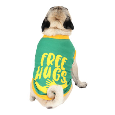douge couture free hugs printed green colour cotton summer T-Shirt 1