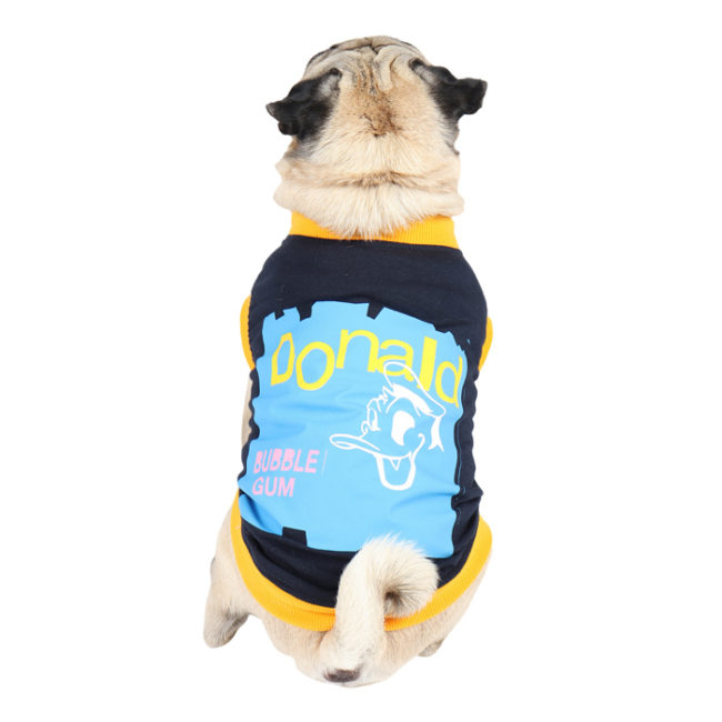 Dog Clothes (donald printed navy blue color cotton summer T-Shirt)