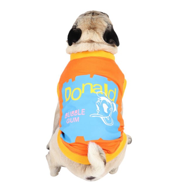 Dog Clothes (donald printed orange color cotton summer T-Shirt)