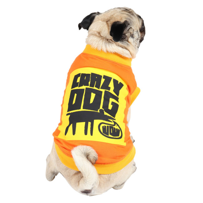 Dog Clothes crazy dog printed orange colour cotton summer T-Shirt