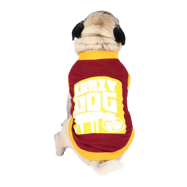 Dog Clothes (crazy dog printed maroon/white color cotton summer T-Shirt)