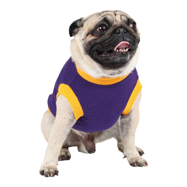 douge couture crazy dog printed purple colour cotton summer T-Shirt