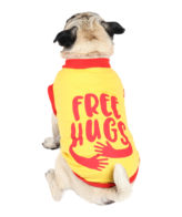 douge couture free hugs printed yellow colour cotton summer T-Shirt