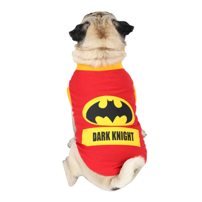 Dog TShirts dark knight printed red colour cotton summer