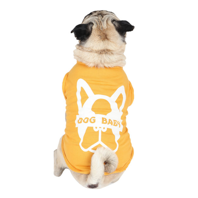 Dog Tshirt dogbaby printed yellow colour cotton