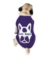 Dog Tshirt dogbaby printed purple colour cotton