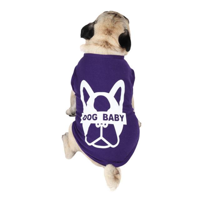 Dog Tshirt dogbaby printed purple colour cotton