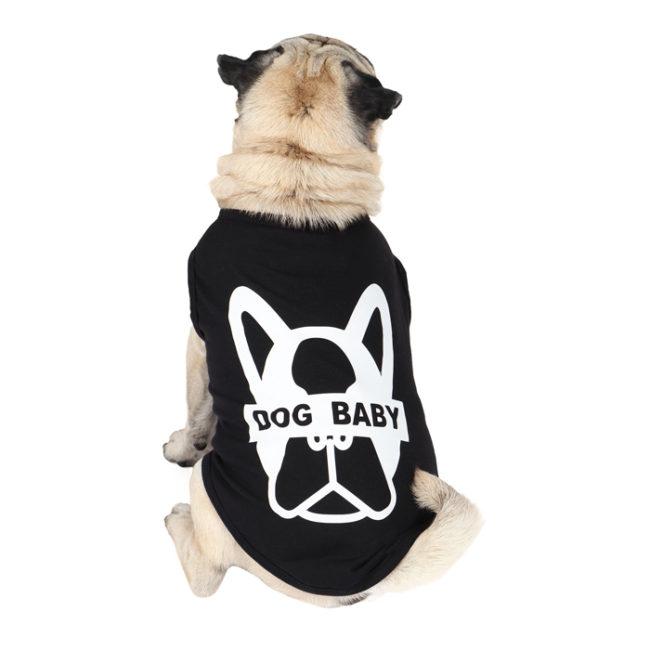 Dog shirt dogbaby printed black colour cotton