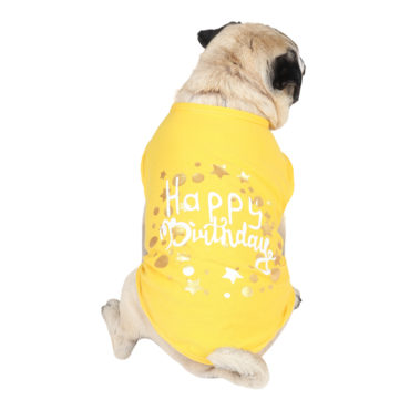 douge couture happy birthday printed yellow colour cotton T-Shirt 1