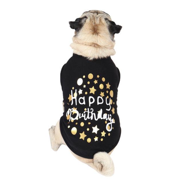Dog Tshirt happy birthday printed black colour cotton summer