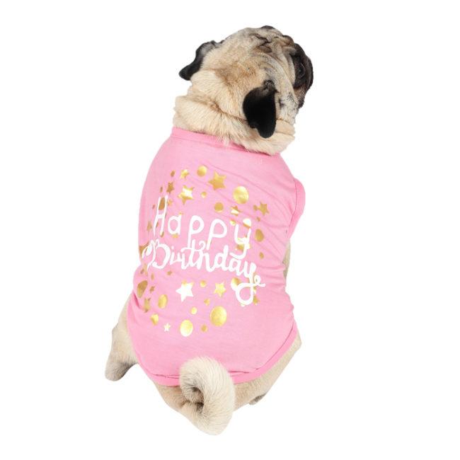Dog Tshirts happy birthday printed pink colour cotton summer