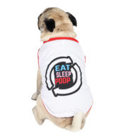 Dog Tshirt eat sleep poop repeat printed white colour cotton summer