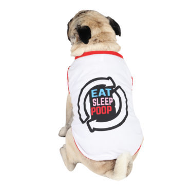 douge couture eat sleep poop repeat printed white colour cotton summer T-Shirt 1