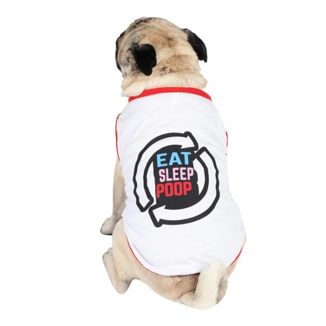 Dog Tshirt eat sleep poop repeat printed white colour cotton summer