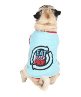 Dog T shirts eat sleep poop repeat printed blue colour cotton summer