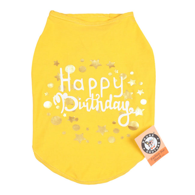 douge couture happy birthday printed yellow colour cotton T-Shirt