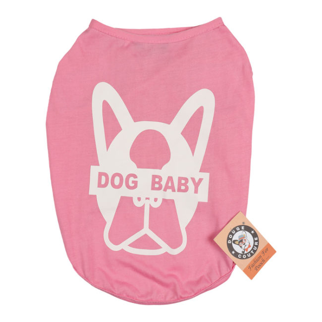 douge couture dogbaby pink printed cotton T-Shirt