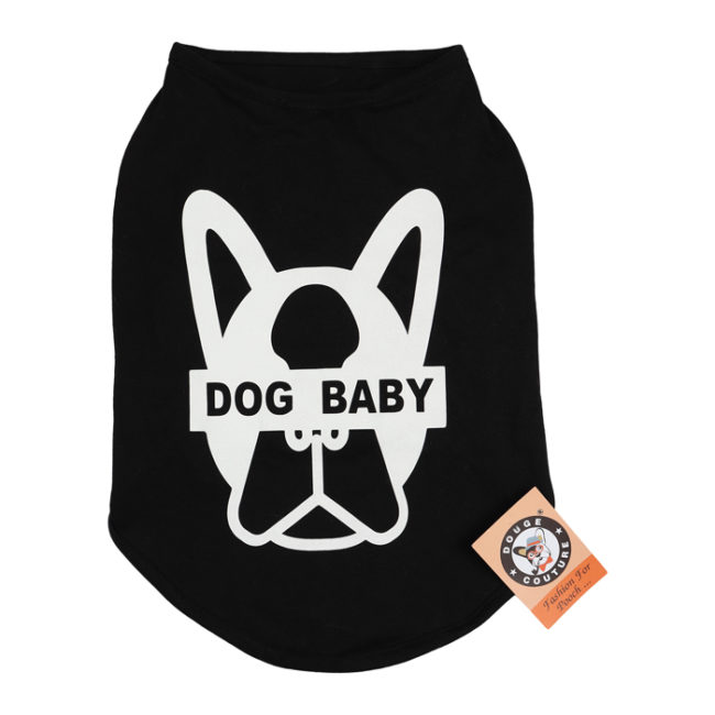 douge couture dogbaby printed black colour cotton T-Shirt