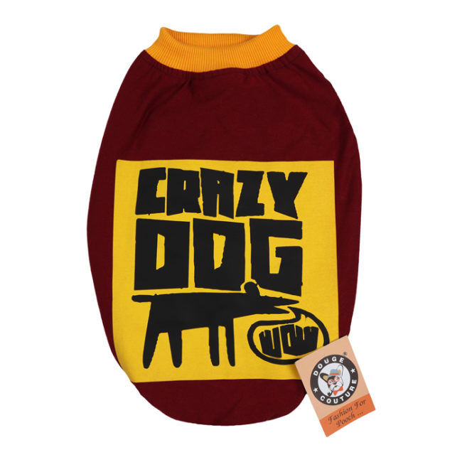 douge couture crazy dog printed mehroon colour cotton summer T-Shirt