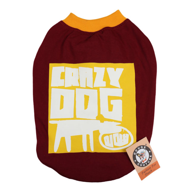 douge couture crazy dog printed merhroon white colour cotton summer T-Shirt