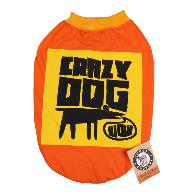 douge couture crazy dog printed orange colour cotton summer T-Shirt