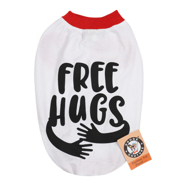 douge couture free hugs printed white colour cotton summer T-Shirt