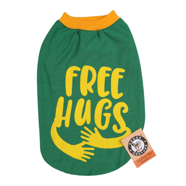 douge couture free hugs printed green colour cotton summer T-Shirt