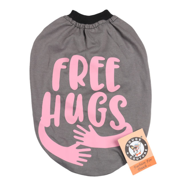 douge couture free hugs printed grey colour cotton summer T-Shirt