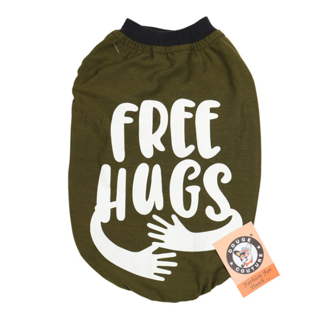 douge couture free hugs printed olive green colour cotton summer T-Shirt