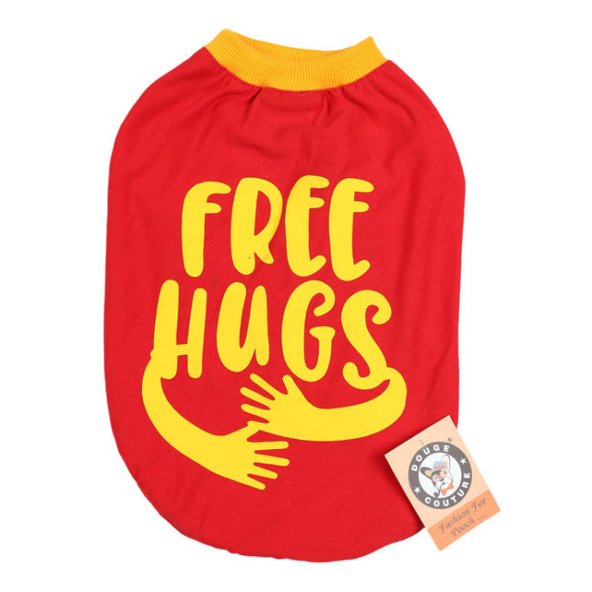 douge couture free hugs printed red colour cotton summer T-Shirt