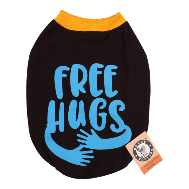 douge couture free hugs printed brown colour cotton summer T-Shirt