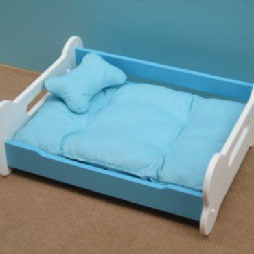 Douge Couture wooden bone shape dog bed (blue color) 1