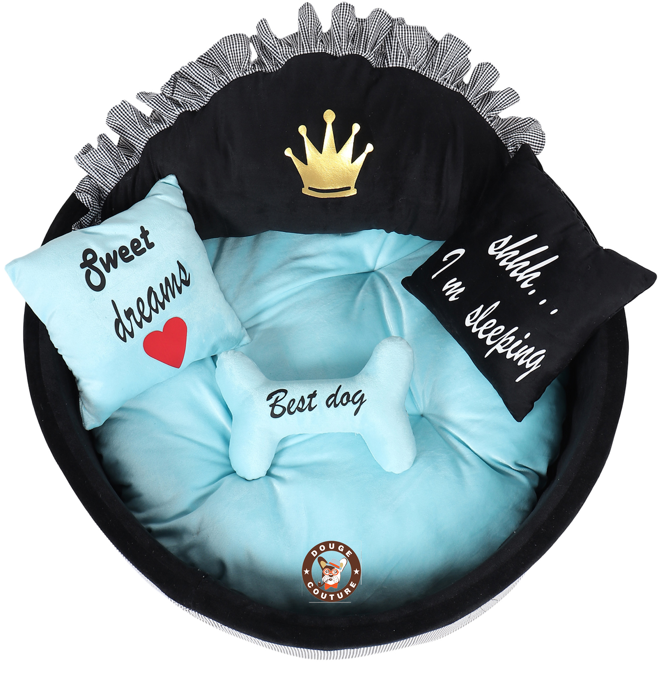 Douge Couture Black and sky blue prince dog bed Personalized dog bed Designer pet bed Cat bed Medium or small dog bed Black and blue dog bed Luxury bed