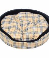 Dog Bed Designer Check Bucket Cream Color