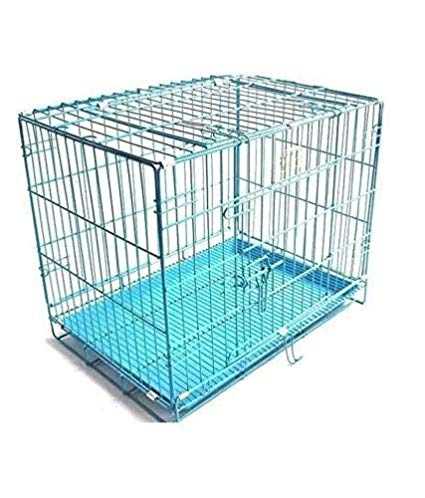 DOUGE COUTURE 24-inch Iron and Plastic Cage with Removable Tray for Dogs and Rabbits (Blue) ( 5000 gm)