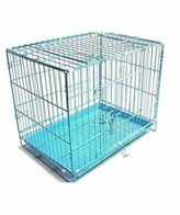 douge couture Paws Cause Powder Coated Iron Dog Cage with Removable Tray (Blue, 18 Inch)