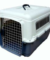 DOUGE COUTURE Plastic Flight Cage Lata Approved with Wheels for Pets (Blue and White, 40'')