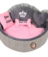 Douge Couture grey print with baby pink dog bed Personalized dog bed Designer tatted dog bed Luxury puppy bed Custom made dog bed Birthday dog gift