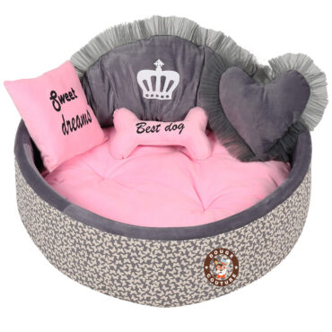 Douge Couture grey print with baby pink dog bed Personalized dog bed Designer tatted dog bed Luxury puppy bed Custom made dog bed Birthday dog gift 1