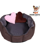 DOUGE COUTURE Dog/CAT Bed Ultra Soft Grey & Brown with 2 Extra Heart Shape Pillow